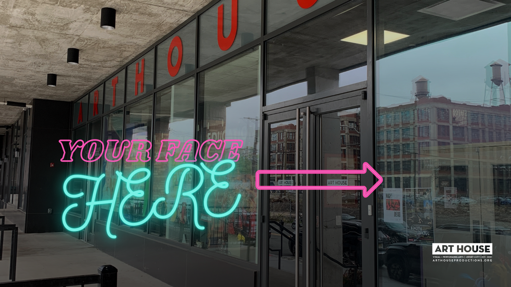 """""""Your Name Here"""" with an arrow pointing to the front window at Art House"""