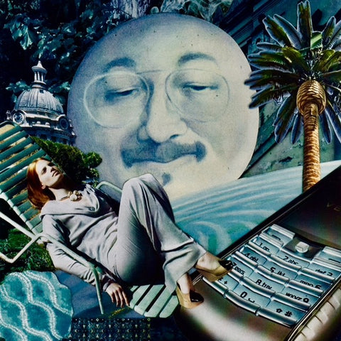 "Collage with a ""man in the moon"" central figure and a female lounging in a chair. A palm tree in the top right corner and corner of a keyboard in the bottom right corner."