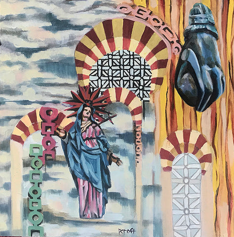 an abstract church with red and yellow striped arches is situated in pieces along a cloudy sky background, with a Mother Mary figure in left bottom corner