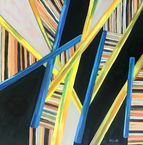 Abstract shapes of black, striped, and white regions all framed by blue and yellow lines