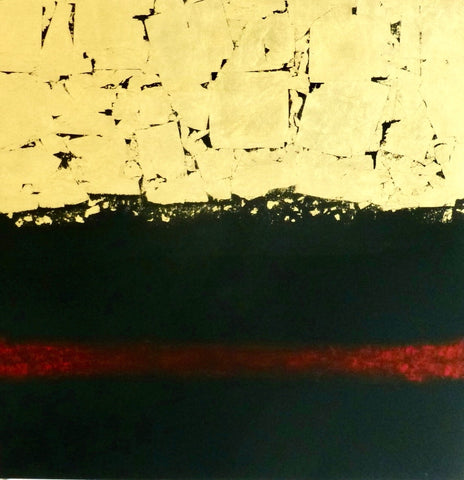 Abstract image with pale yellow top with skinny deep green splotches, a deep green bottom half with a red horizontal line across the bottom third.