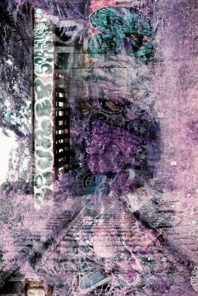 A double exposure photo of a tunnel in Jersey City with a purple overtone.