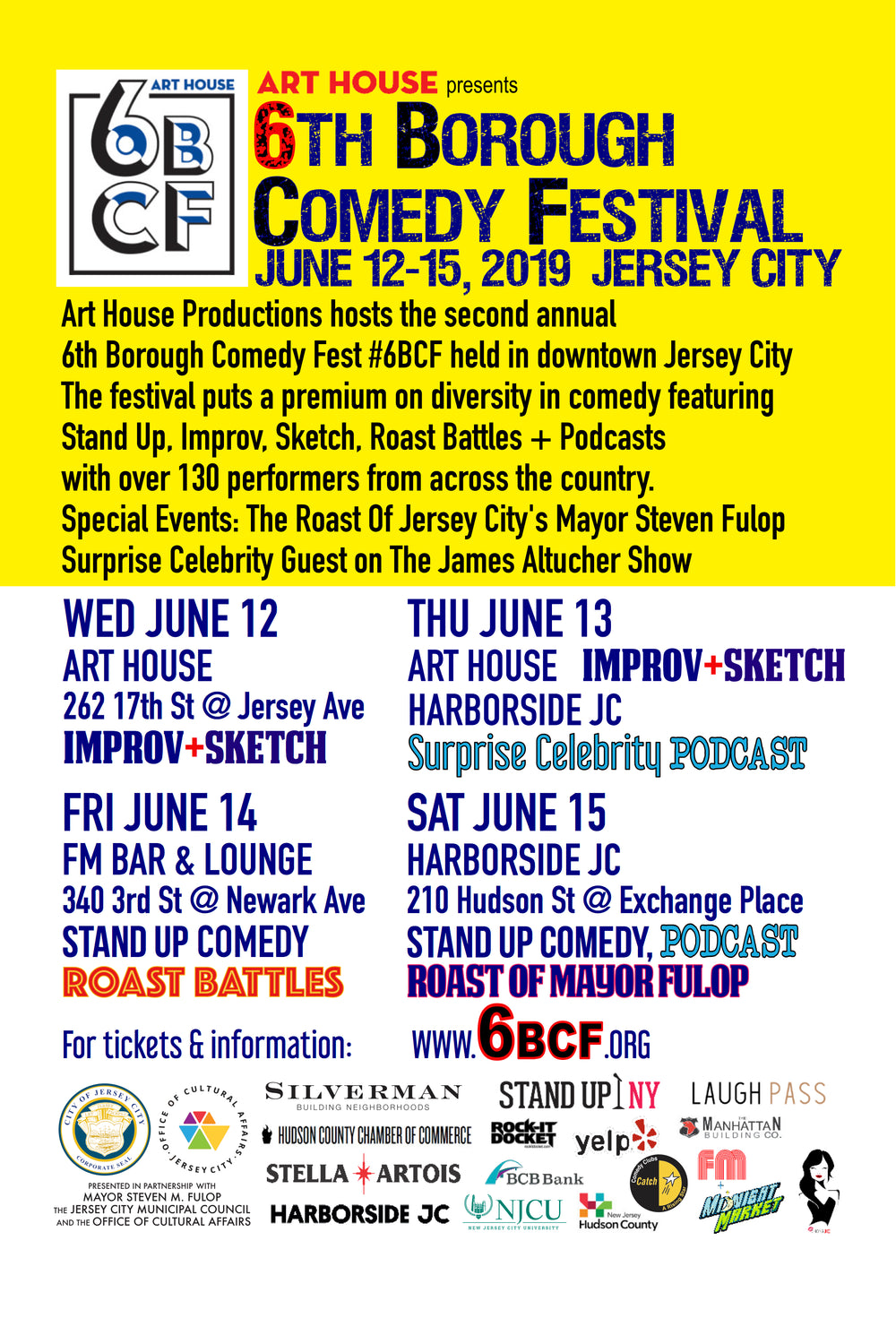 6th Borough Comedy Fest: June 12th - June 15th 2019