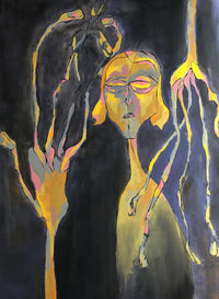 An abstract figure in gold and pink with very long fingers on  a black background.