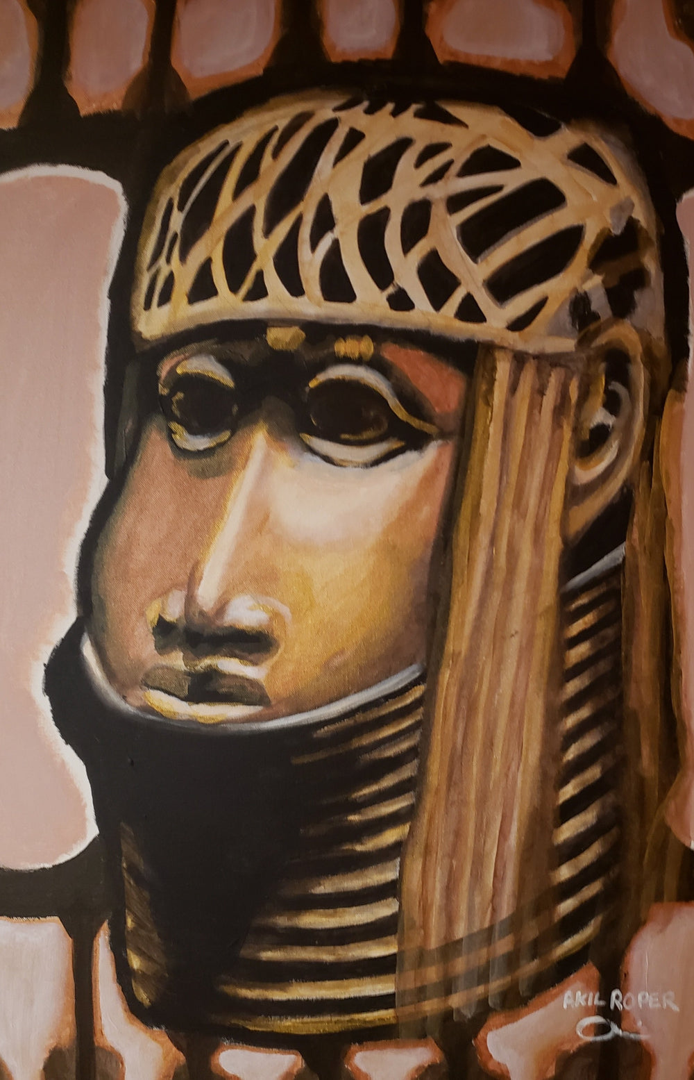 A painting resembling a bronze bust of Benin.