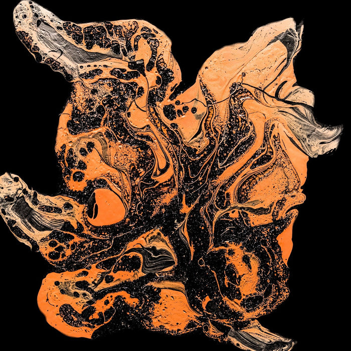 Swirls of orange colors over a black back round.