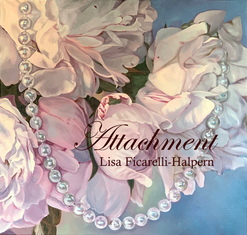 Painting featuring pink peonies draped with a pearl necklace.