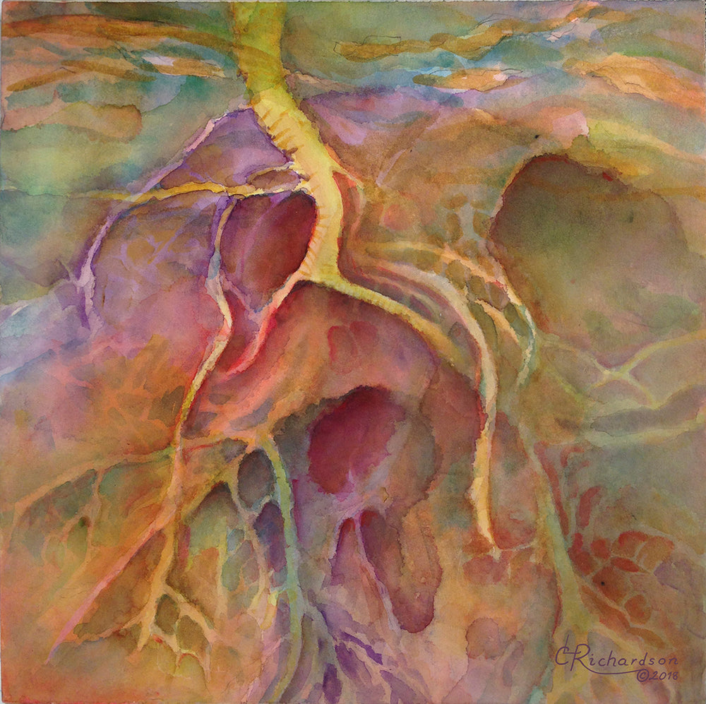 Watercolor of vein like forms in purples and golds.