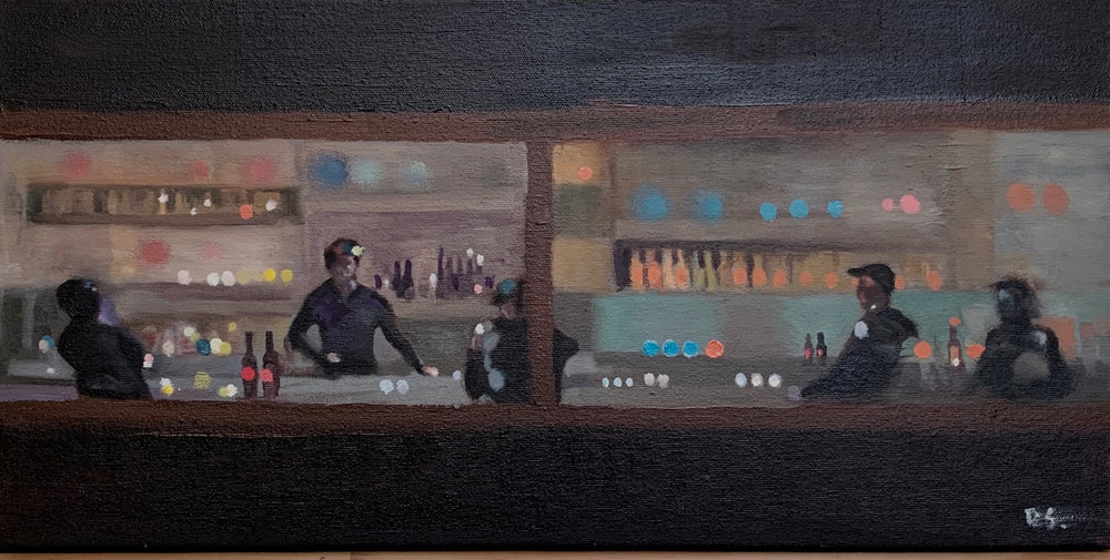 Figures at a bar, gray and blue tones.