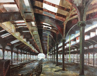 Painting of the inside of the abandoned railroad station at Liberty State Park. Soft gray tones with blues and reds. Over head iron work and columns