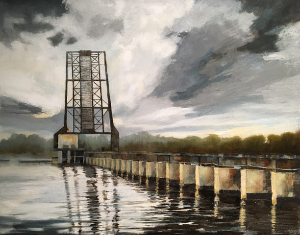 Painting of a iron drawbridge with the water below in grays and blues and rusted colors.