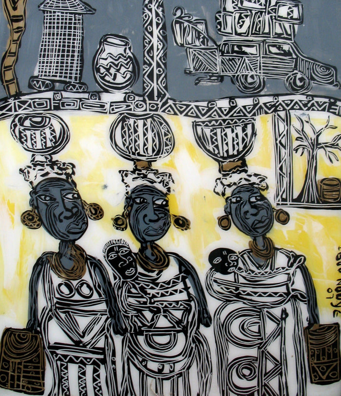 Three Black women with bowls on their heads with traditional african patterns surrounding them, Yellow, black and gray tones.