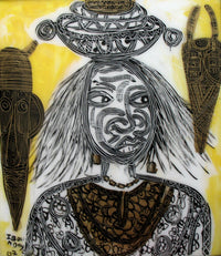 A Black Laobe woman with a traditional bowl on her head with African masks beside her.