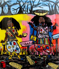 Two Black women standing in black grass holding their wares with blare black trees behind them.