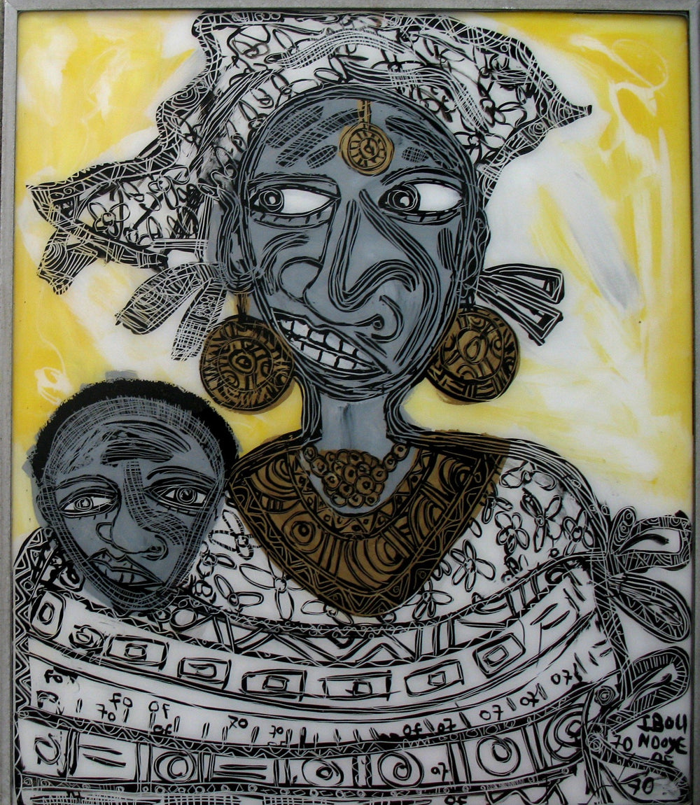A stylized painting of a black woman and her child in gray and black tones with a yellow back round.