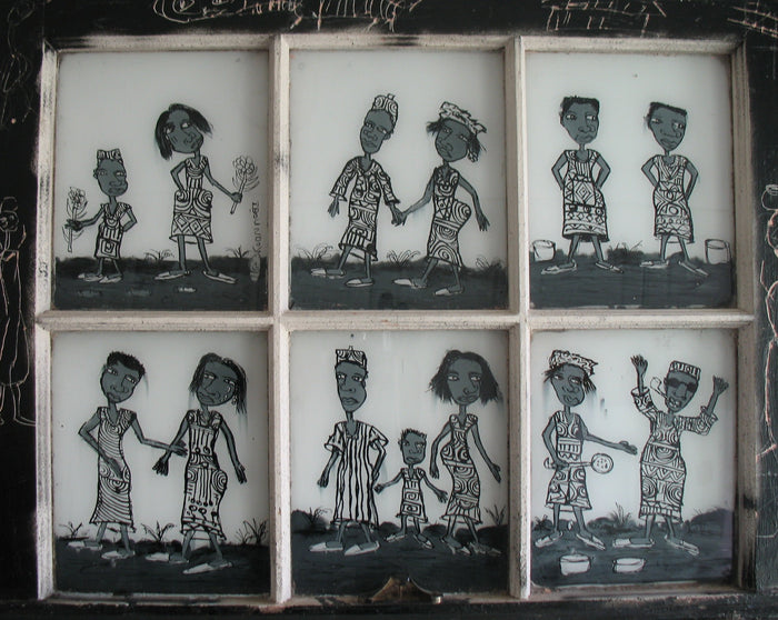 A six panel window with African men and women in each one doing daily tasks. Scratched in black and grays.