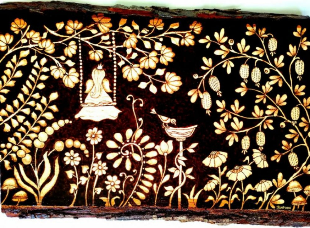 Flowers and birds burned into wood.
