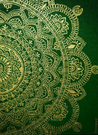 Intricate patterns in gold with green back round.