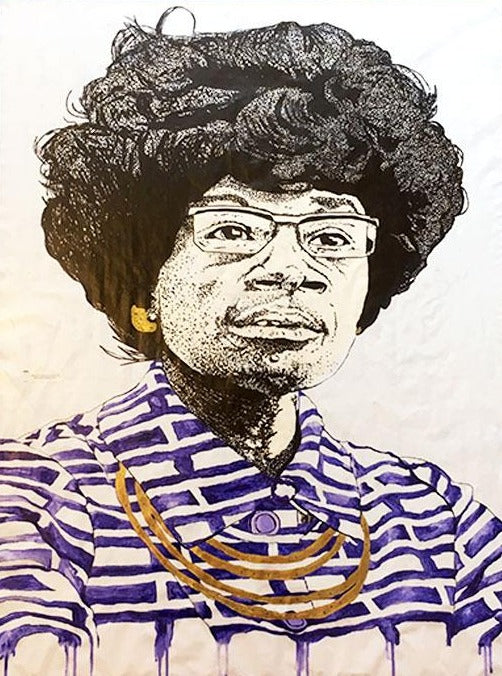 A portrait of politician, Shirley Chisholm done in marker and acrylic paint.