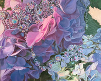 Painting of pink and purple hydrangeas that are draped with jewellery