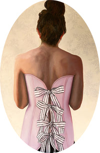 Painting featuring the back of a woman who's wearing a pink corset decorated with bows.
