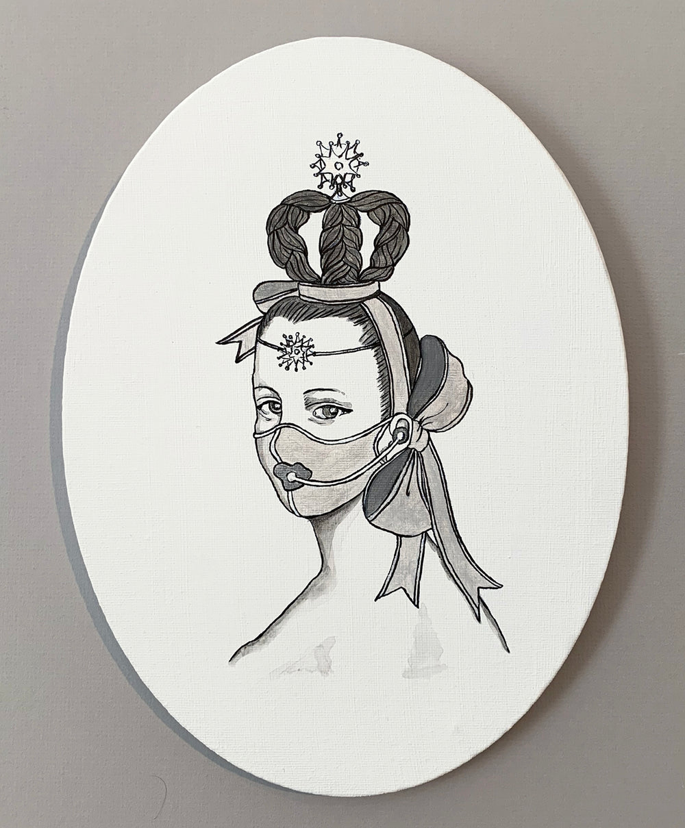 Drawing of a women wearing a face mask with a bow and her braids form a crown on the top of her head.
