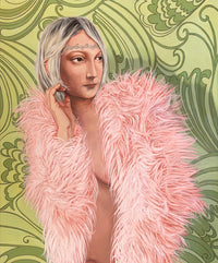 Painting featuring a woman wearing only a pink, feathery boa standing in front of a green background.