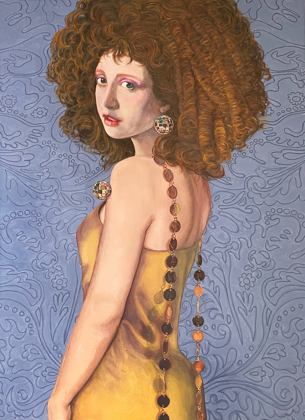 Painting of a woman with brown curls, who's wearing a yellow dress.