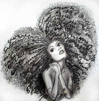 A woman with a lot of curly hair, black and white.