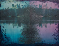 A double photo collage of central park with a tree in the middle in purples and blues.