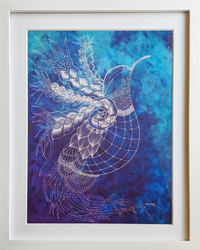 A light and dark painted blue back round with a white outline of a bird in flight.