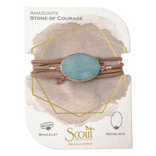 Scout Suede/Stone Wrap Bracelet/ Necklace  - Amazonite/Gold/Stone of Courage - http://www.shopabigails.com