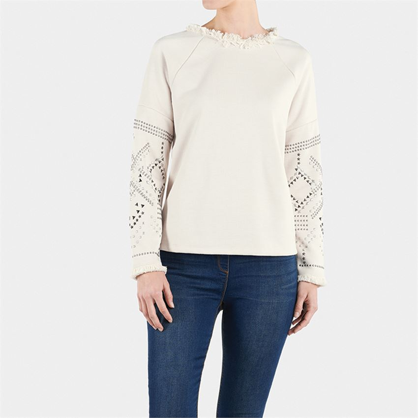 Stylish Studded Creme Sweatshirt with fun frayed crew neck - http://www.shopabigails.com