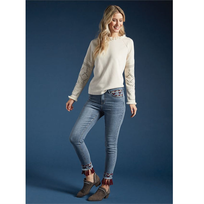 Stylish Studded Creme Sweatshirt Top fun frayed neck - http://www.shopabigails.com