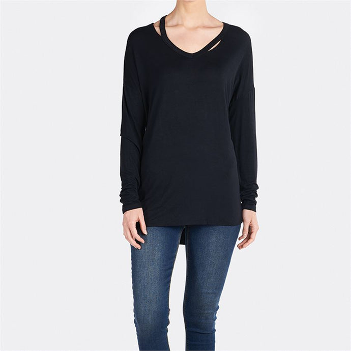 Robbi Cut Out V-Neck Long Tunic Tee Top Black - http://www.shopabigails.com