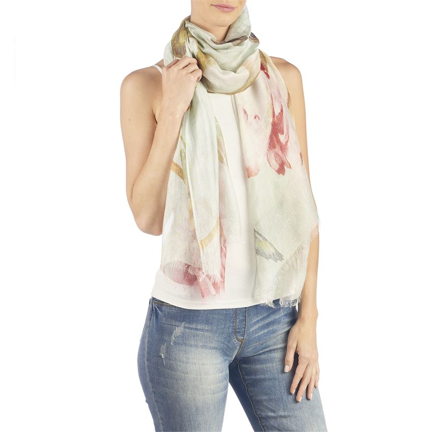 Silk Floral Oblong Scarf Sage Red Sheer Silk Rayon - http://www.shopabigails.com