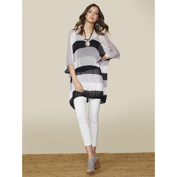 Striped Pointelle Sweater White Gray Black - http://www.shopabigails.com