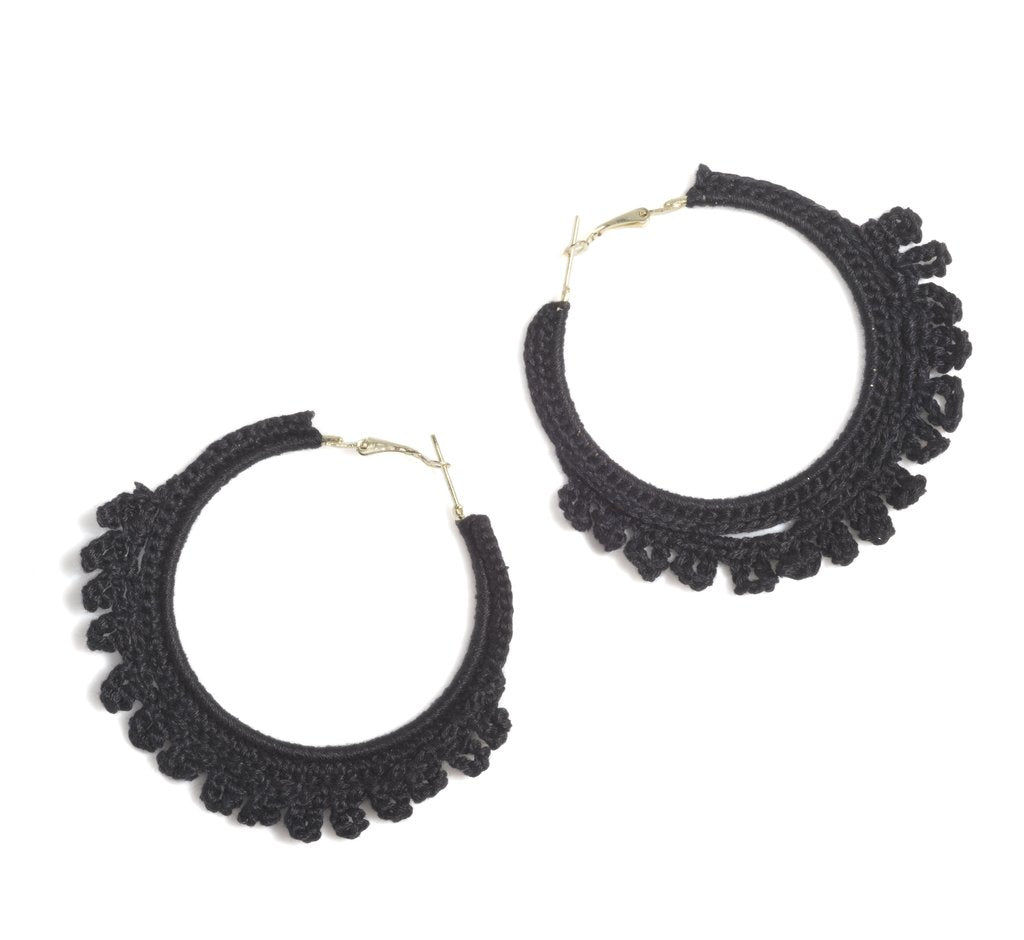 EMME CROCHETED HOOP EARRINGS, BLACK - http://www.shopabigails.com