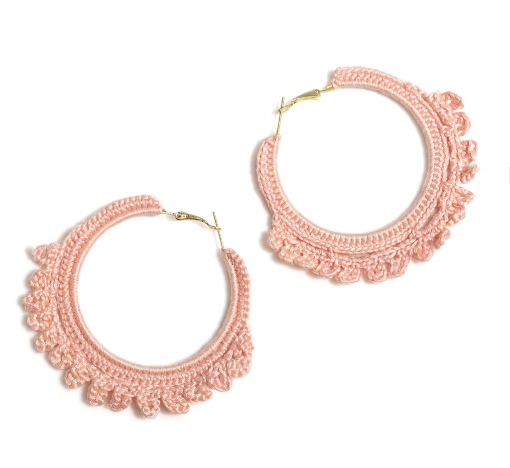 EMME CROCHETED HOOP EARRINGS, BLUSH - http://www.shopabigails.com