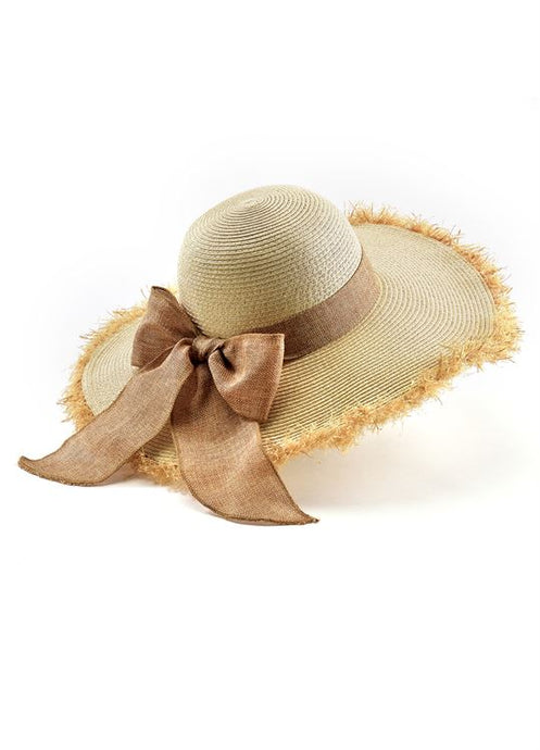 Straw Fringe Wide Brim Hat with Fringe and Bow from Charlie Paige - http://www.shopabigails.com