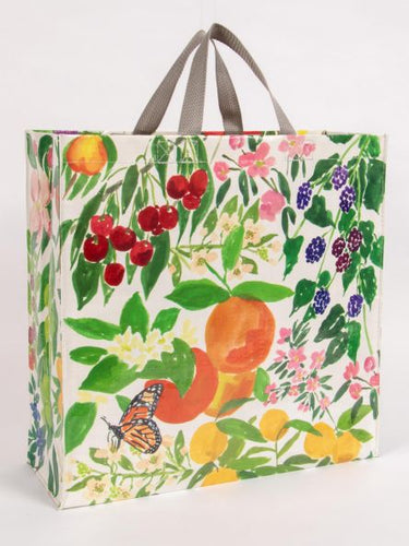 Blue Q Orchard Fruit Flower Butterfly Shopper Grocery Recycled Tote Bag - http://www.shopabigails.com