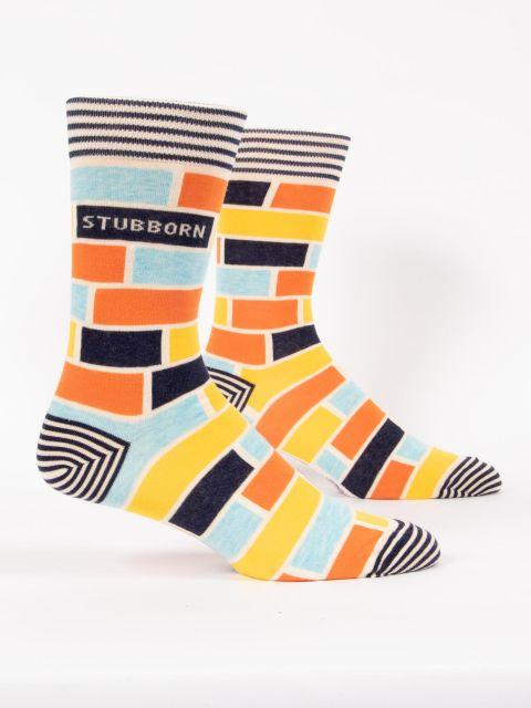 Blue Q Men's Stubborn Striped Crew Socks - http://www.shopabigails.com
