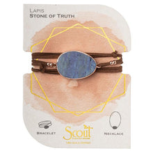 Scout Suede/Stone Wrap Bracelet/Necklace - Lapis/Rose Gold/Stone of Truth - http://www.shopabigails.com