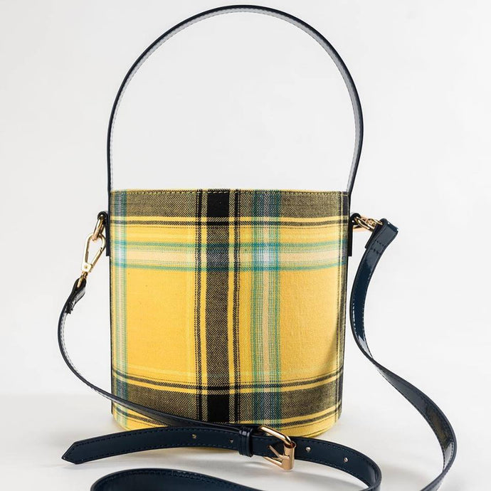 Dear Lizzy Yellow Plaid Bucket Purse - http://www.shopabigails.com