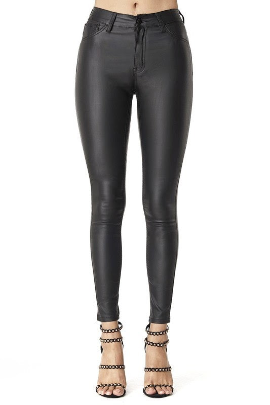 Hammer Collection Faux Leather Jeans - http://www.shopabigails.com