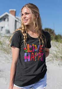 Boho Graphic Cotton T-Shirt Live Happy - http://www.shopabigails.com