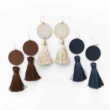 Blue Leather Tassel earrings from California Sterling Silver Hooks - http://www.shopabigails.com