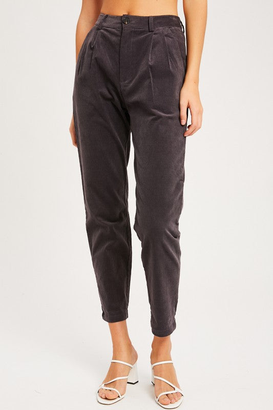 Corduroy Pleated Trousers by Listicle
