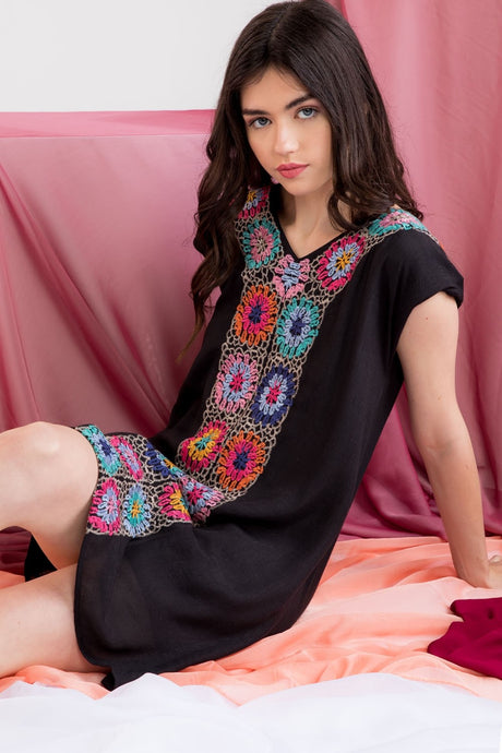 Embroidered Shift Black  Dress by THML - http://www.shopabigails.com