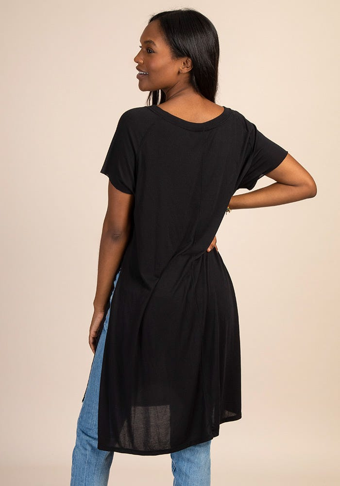 Black Side Slit Long V-Neck Top Natural Life - http://www.shopabigails.com